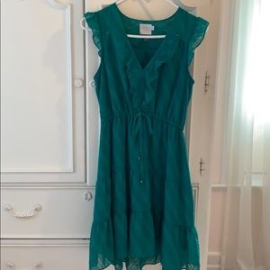Anthropologie green ruffle dress with drawstring
